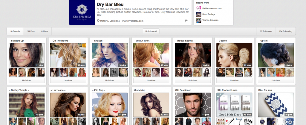 DRY BAR BLEU Pinterest