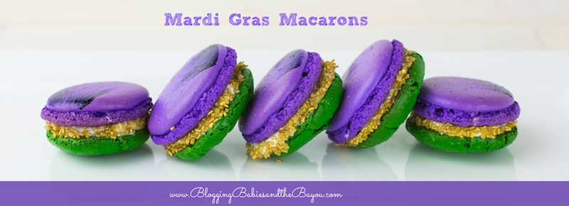 New Orleans Inspired Mardi Gras Macarons - Travel, Food and Fun at www.bloggingbabiesandthebayou.com