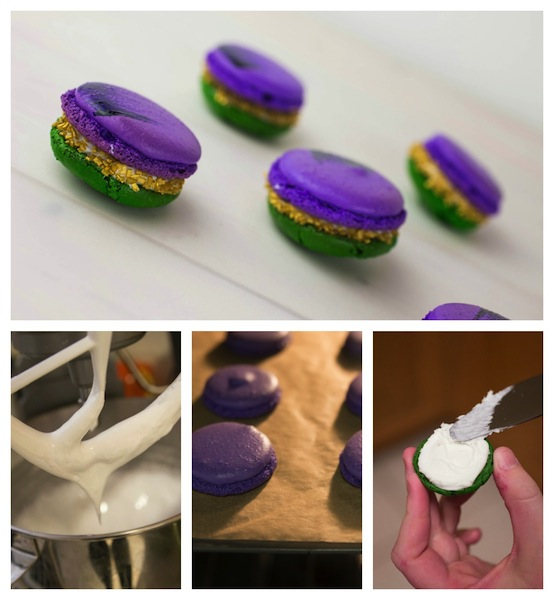 Step by Step Tutorial on How to make Mardi Gras Macarons
