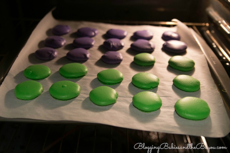 Step by Step direction  plus recipe for Mardi Gras Macarons