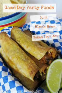 Game Day Party Foods – Corn & Black Bean Baked Taquitos