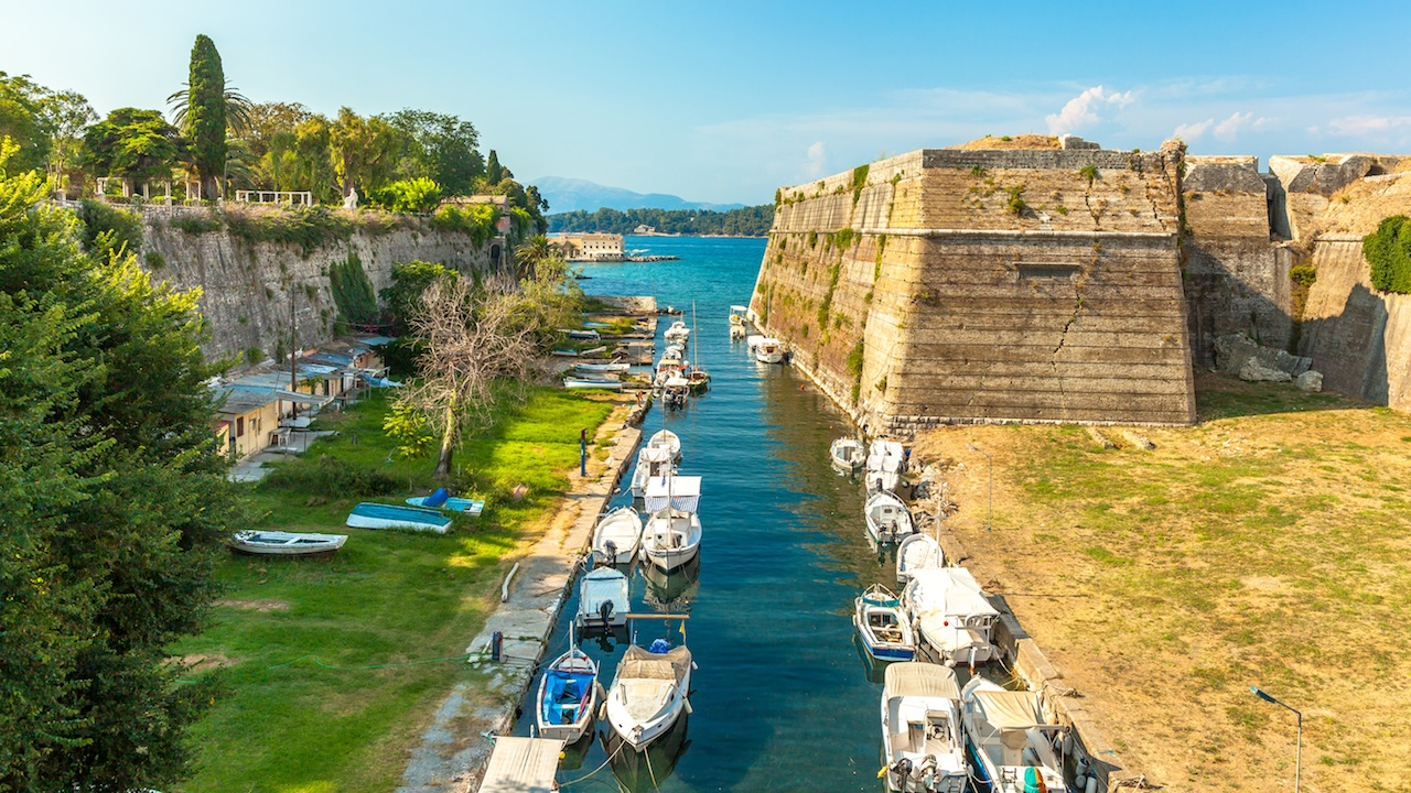 Old Byzantine fortress in Corfu, canal view - Greece