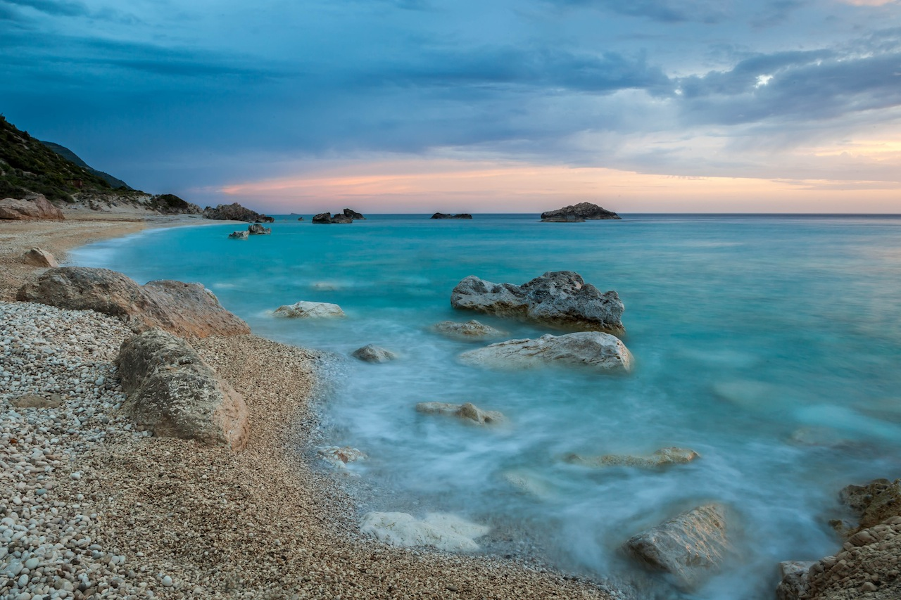 Kathisma beach, Lefkada, Greece surprised at twilight.