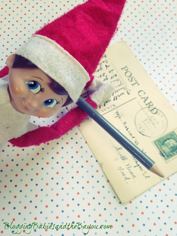 Sending postcards to family members at home - Elf on the Shelf- Winter Escape #BayouTravel Series
