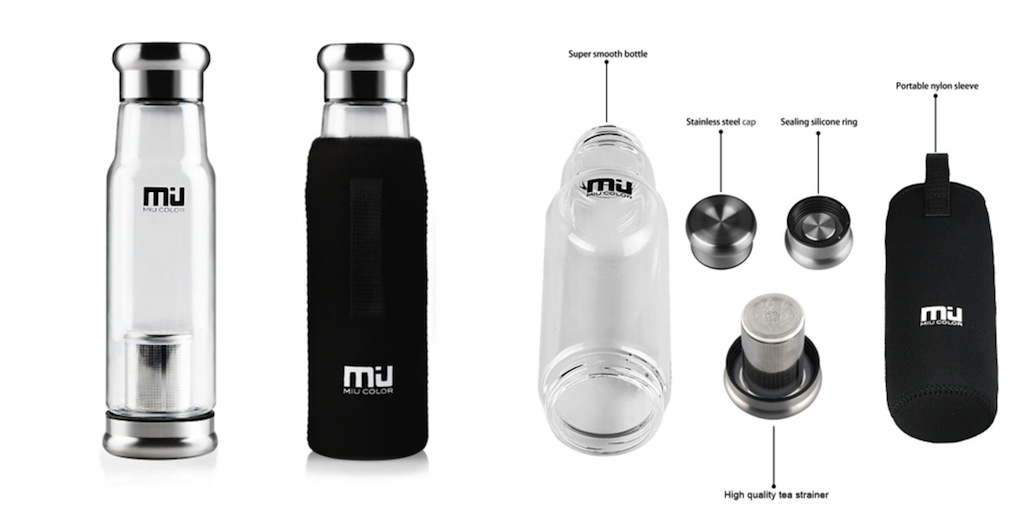 Carry-on Travel Essentials  MIU COLOR® Stylish Portable Handmade Crystal Glass Water Bottle with Tea Strainer and Black Nylon Sleeve, 18.5 Ounces  #BayouTravel