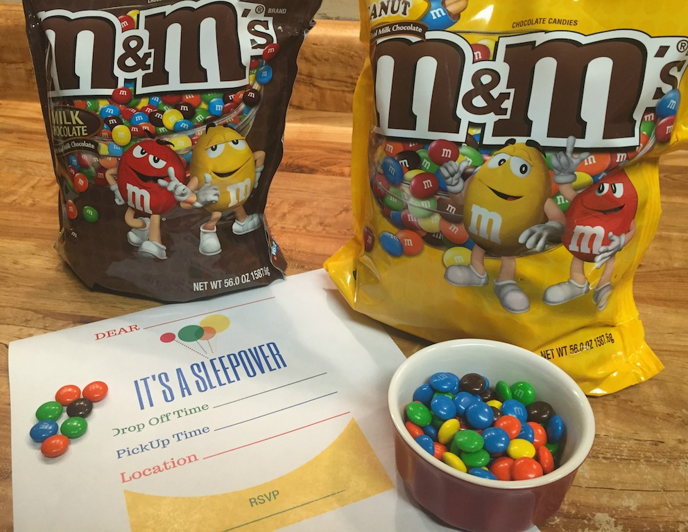 Sleepover Fun  with M&ampM's®  + Free Printable Slumber Party Invites #ShareFunshine #Ad