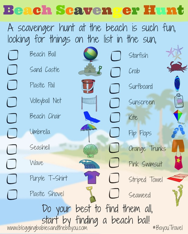 Beach Travel Printable for Kids - Scavenger Hunt #BayouTravel