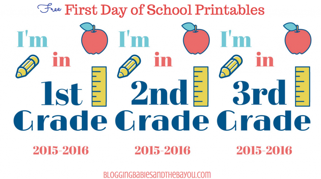 First Day of School Printables Pre-K through 12th Grade