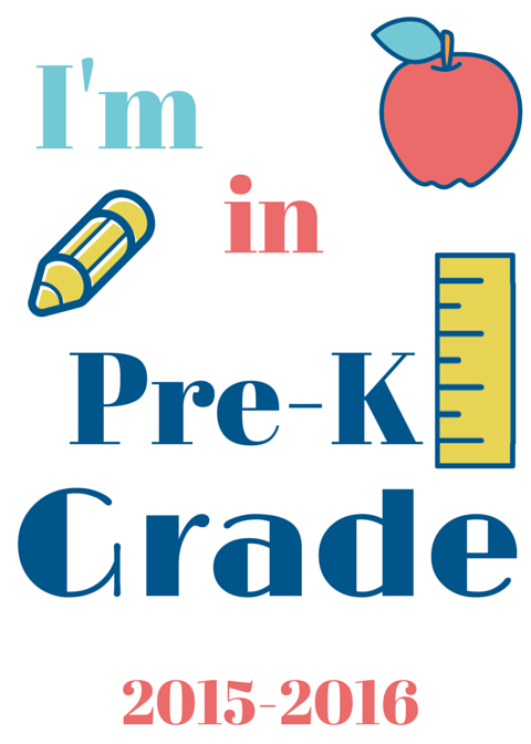 Pre-K -  Back to School Signs