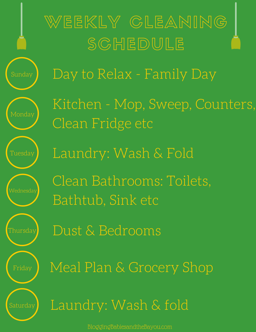 Printable Weekly Cleaning Schedule - Make Your Cleaning Routine Easier