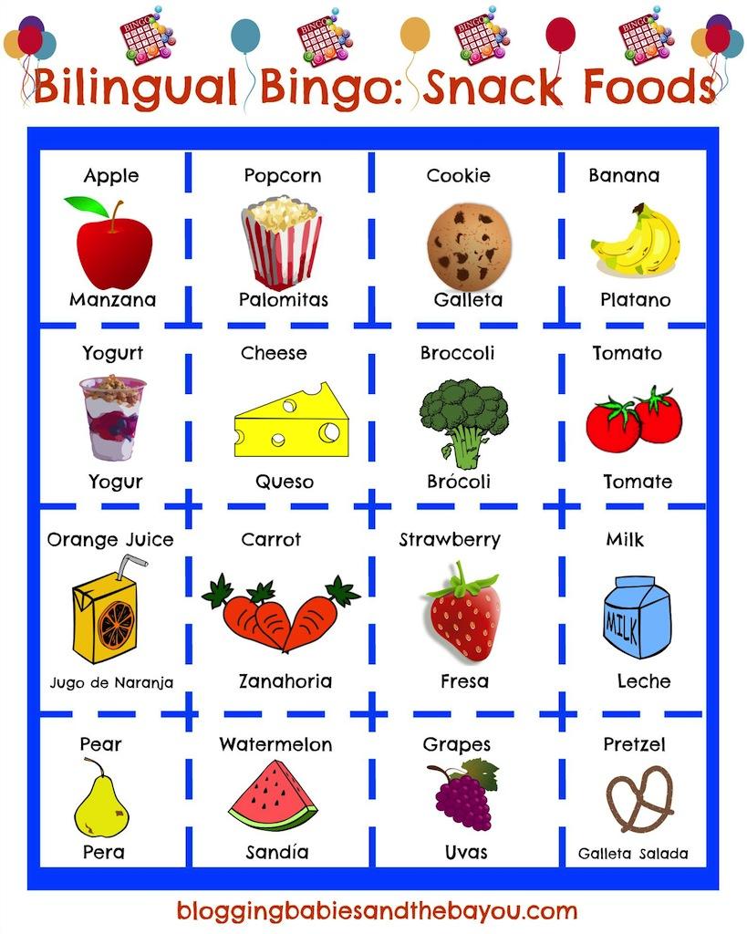 Bilingual Bingo - Spanish Snack Food Bingo
