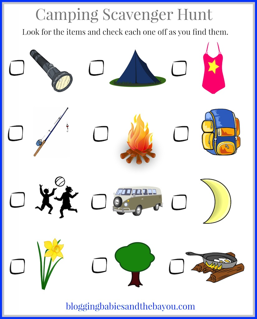 picture about Camping Scavenger Hunt Printable titled Tenting with Small children - Childrens Tenting Themed Printables