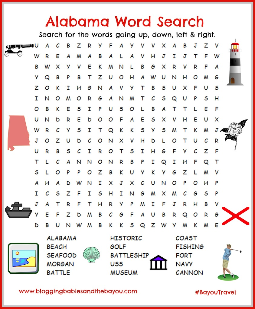 Gulf Shore, Alabama Travel Printable - Word Search Orange Beach & Mobile Attractions