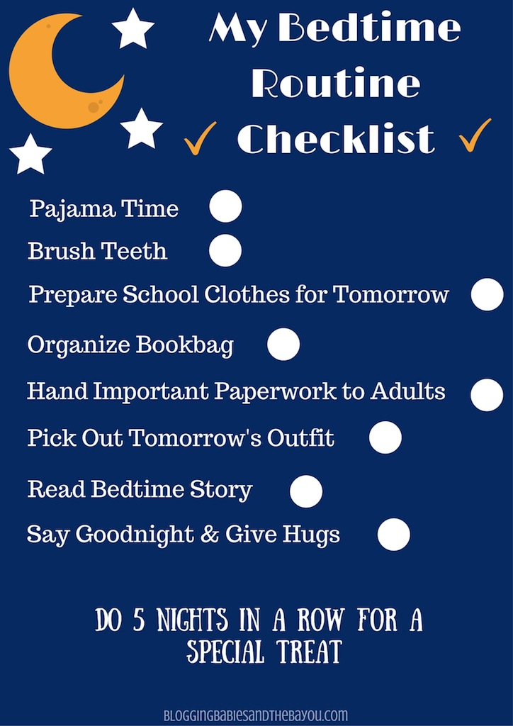 My Bedtime Routine checklist - Free Printable
