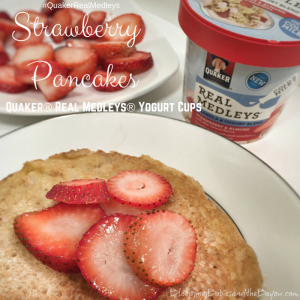 Strawberry Pancakes w/ Quaker® Real Medleys® Yogurt Cups #QuakerRealMedleys #CollectiveBias {ad}