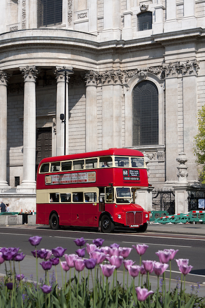 Did You Know? Travel Series – St Paul Cathedral London UK #BayouTravel  Double decker passing  St. Paul Cathedral
