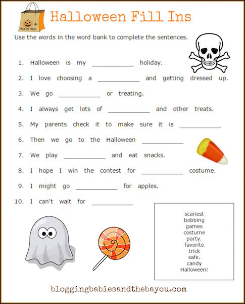 Halloween Fill Ins Activity Printable