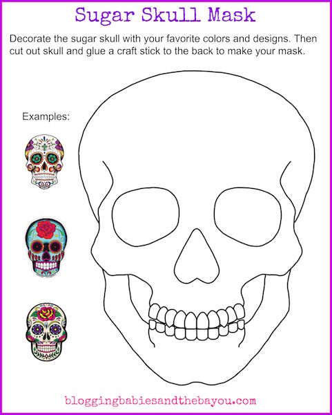 Sugar Skull Mask Printable - Dia De Los Muertos Day of the Dead Activity for Children