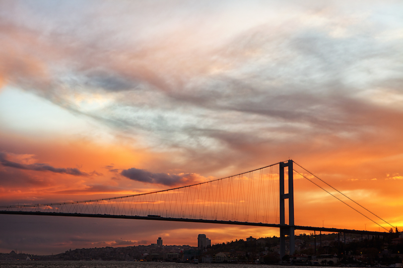 European Travel - Attractions & Sites in Istanbul Turkey - The Bosphorus Bridge connects Europe and Asia
