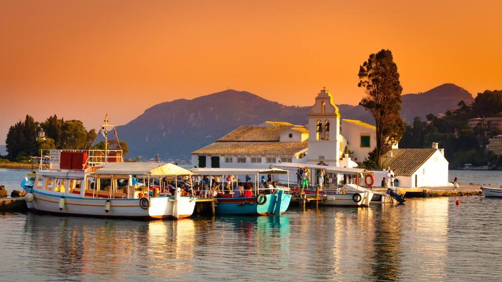 Sunset over CORFU Greece - Small town on a Greek island in the Ionian Sea #BayouTravel