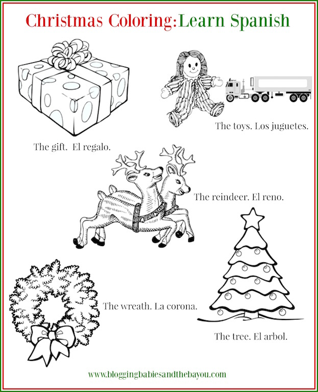 Christmas Coloring Sheet - Bilingual Learn Spanish Christmas Printable - Kid Childrens Activity