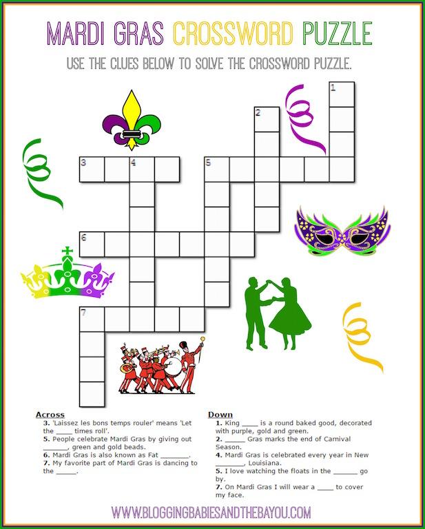 Mardi Gras Crossword Puzzle - Carnival Printables