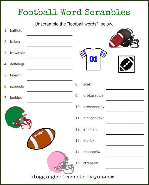 image relating to Word Scrambles Printable identified as Tremendous Bowl Functions for Young children - Youngster Soccer Printables