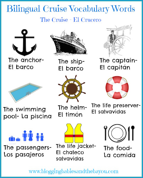 Cruise Printable for Children - Bilingual Cruise Vocabulary Words jpg