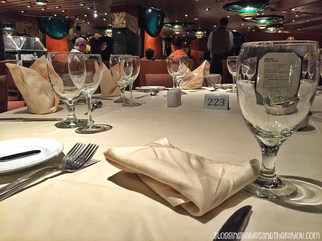 Dining room WITH tablecloths Carnival Cruise Elation - Ship Details, Decor, Dining menu and more #BayouTravel