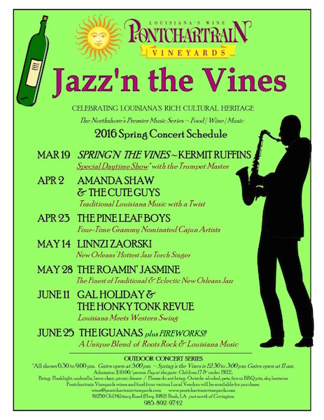 Jazz N Vine - Pontchartrain Vineyards Spring Schedule