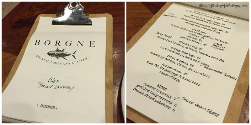 Menu Selection at Borgne  New Orleans Top Restaurants - Where to Eat in NOLA