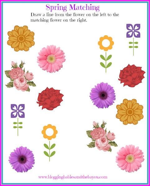 Chil Spring Bookmarks Printable Activity Spring Matching